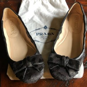 Prada Pony Hair Ballet Scrunch Flats with Bow
